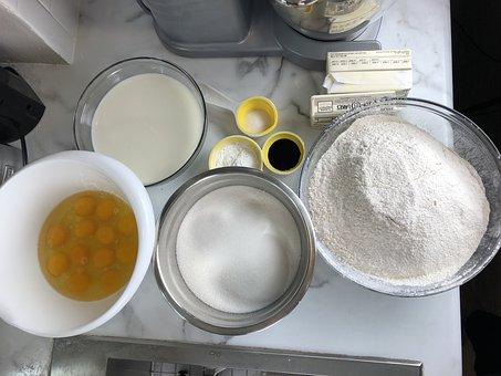 Baked Goods, Food, Flour, Vanilla Flavor, Eggs, Cream
