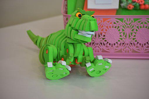 Dinosaur, Toy, Green, Play, Kids, Puzzle, Figurine