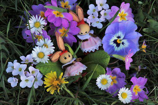 Easter, Flowers, Bunny, Hare, Colorful, Two, Rabbit