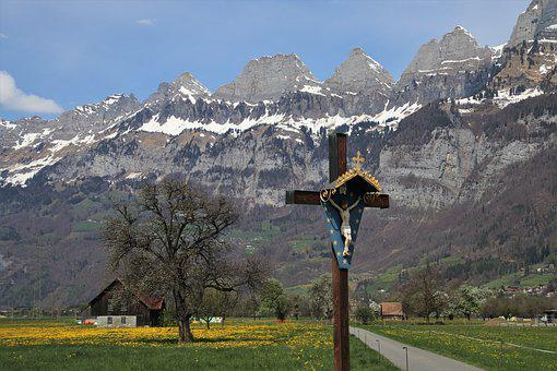 Easter, Cross, Mountains, Landscape, The Alps, Flums