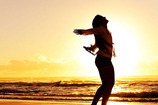 Shadow, Girl, Sunset, Sea, Enjoying
