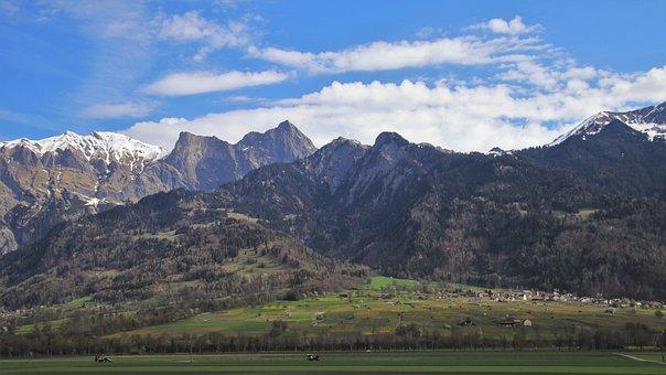 Panorama, Mountains, Meadow, Pasture Land, April, Flums