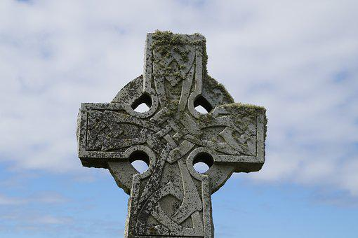 Cross, Tombstone, Celtic, Ornaments, Grave, Death, Sky