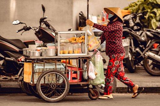 Vendor, Street, Food, People, Sell