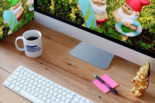 Computer, Workplace, Screen, Garden Gnomes, Work, Desk