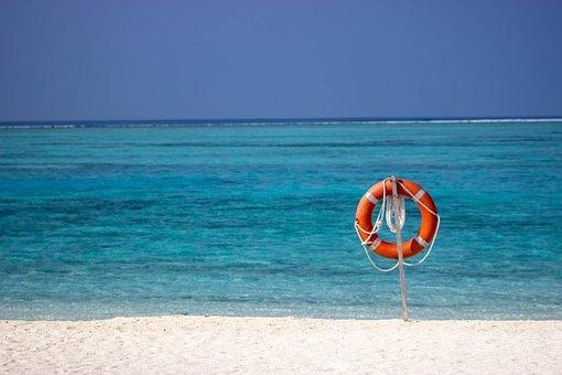 Sea, Sky, Beach, Life Preserver, Rescue Ring, Blue