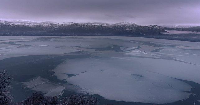 Lake, Frozen, Kastoria, Greece, Winter, Snow, Nature