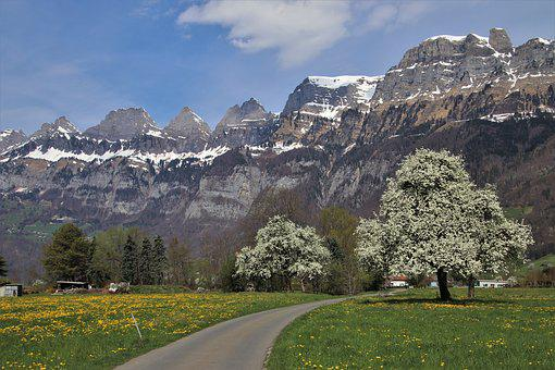 Spring, Mountains, Way, Snowy, View, Alpine, Flums