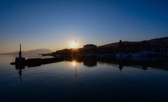 Sunset, Port, Calm, City, Reflection, Light, Water