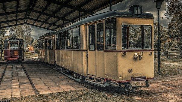 Tram, Shelter, Traffic, Rails, Historically, Old, Train
