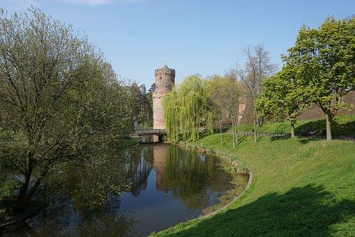 Nijmegen, Park, Defensive Tower, Water, Bridge