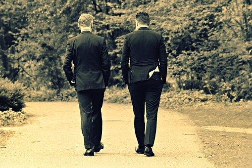Men, People, Walking, Path, Park, Suit, Corporate