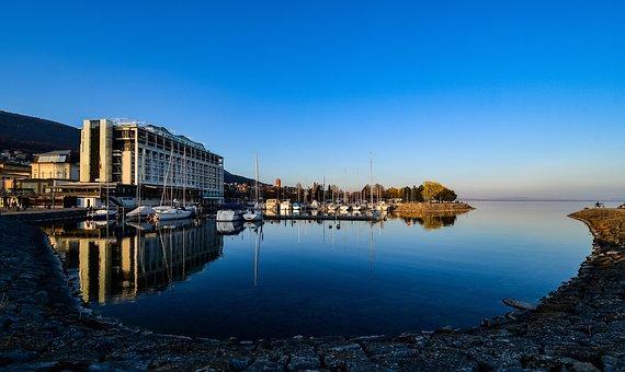 Building, Port, Lake, Boat, Calm, Blue, Water, Sky