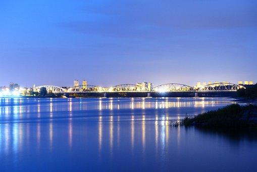 Landscape, Bridge, River, Wisla, Grudziadz, Poland