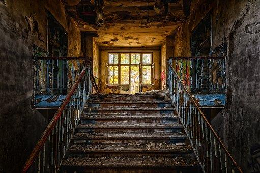 Stairs, Emergence, Gradually, Rise, Old, Abandoned