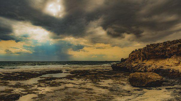 Stormy Weather, Storm, Rocky Coast, Weather, Clouds