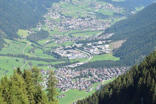 Stubai, Valley, Alps, Austria, Bird's Eye View