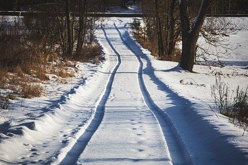 Snow, Traces, Tire Tracks, Winter, Away, Landscape