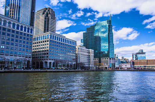 Jersey City, Dock, Water, River, Skyline, Urban
