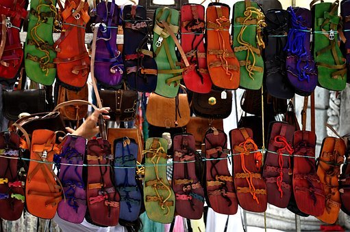Market, Sandals, Since, Row, Color, Alignment, Pattern