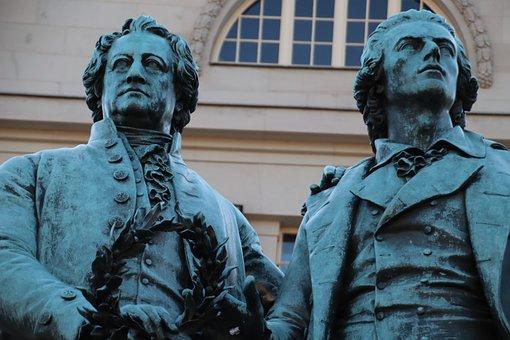 Goethe, Schiller, Monument, Weimar, Art, Germany, Poet