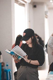 Girl, Coat Black, Books, Reading