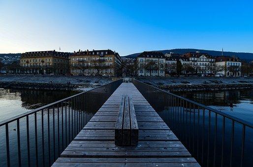 Twilight, City, Bridge, Lake, Calm, Reflection