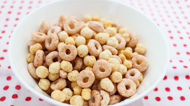 Cereal, Bowl, Rings, Table, Table Cloth, Polka Dots