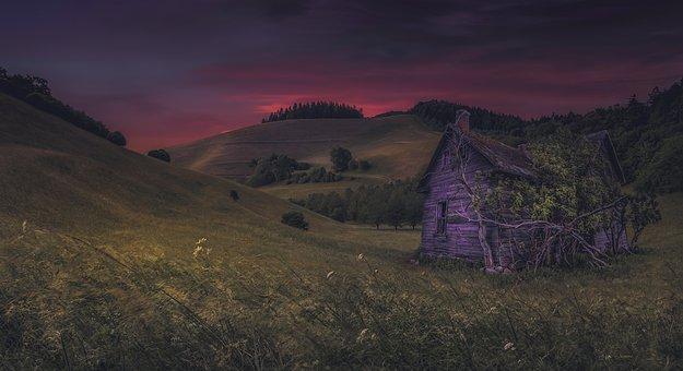 Evening, Hut, Meadow, Landscape