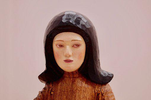 Wooden Statue, Woman, Face, Arts