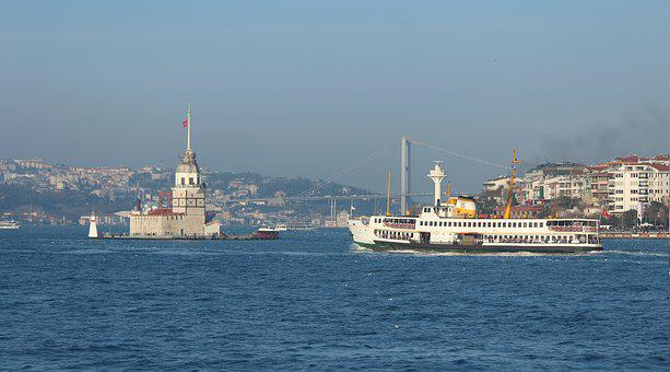 Maiden's Tower, V, Istanbul, Ship, Bridge, Marine, City