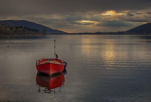 Boat, Red, Lake, Kastoria, Greece, Sea, Orange