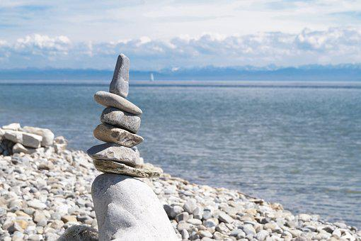 Stones, Lakeside, Lake Constance, Summer, Clouds, Sky