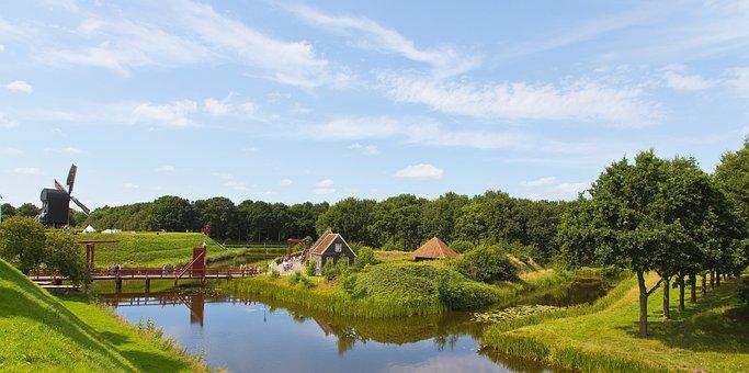 Farmer Cafetange, Groningen, Fortress, Mill, Landscape