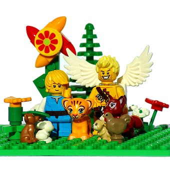 Lego, Mini Figures, Animals, Angel, Sky, Paradise