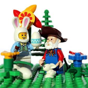 Lego, Mini Figures, Easter, Easter Bunny, Fuzzy