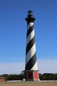 Lighthouse, Hatteras, Coastline, Landmark, Seashore, Nc