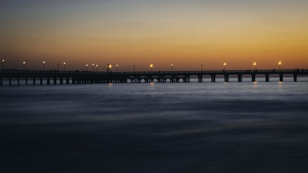 Sunset, Bridge, Sea, Lithuania, Palanga, Baltic Sea