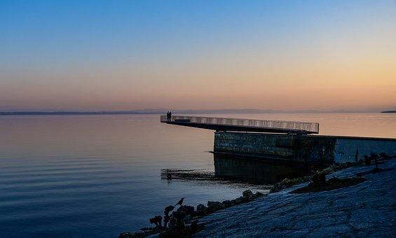 Sunset, Lake, Landscape, Bridge, Reflection, Quiet