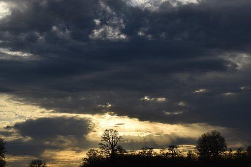 Sky, Sun, Rays, Sunset, Clouds, Landscape, Mood, Nature