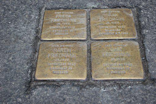 Stumbling Blocks, Commemorate, Brass Plate, Stone