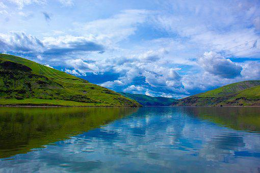 River, Water, Calm, Landscape, Nature, Clouds
