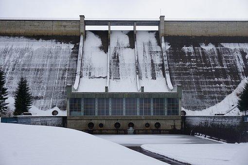 Snow, Dam, Winter, Reservoir, Nature, Barrier Wall