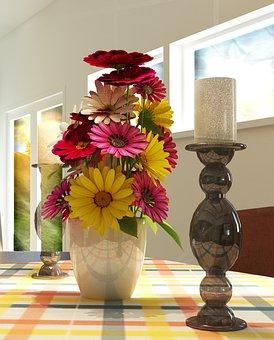 Flowers, Candle, Decoration, Window, Desk