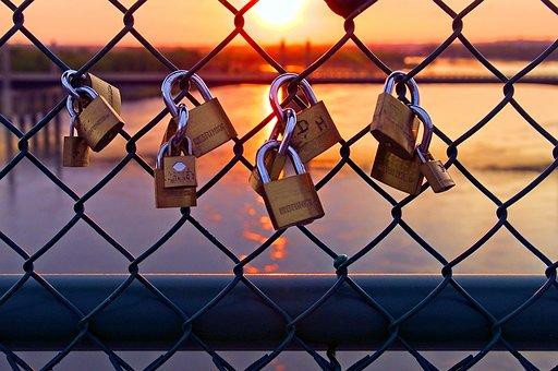 Love Locks At Sunset, Love, Padlock, Heart, Friendship