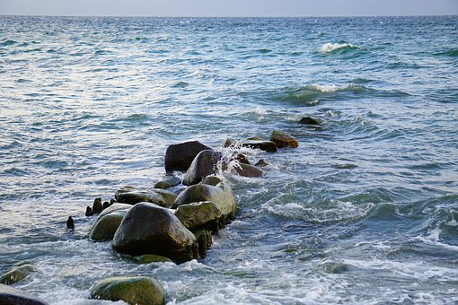Water, Sea, Baltic Sea, Stones, Beach, Ocean, Summer