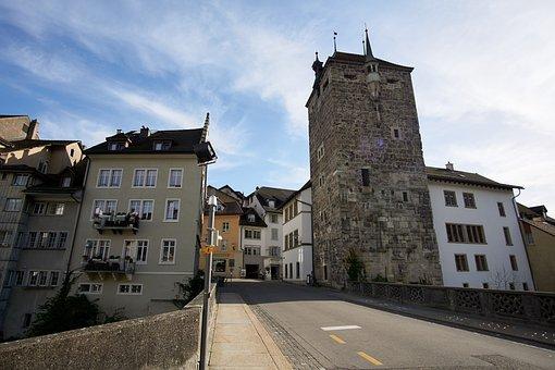 Switzerland, Aargau, Brugg, City, Historic Center, Sun