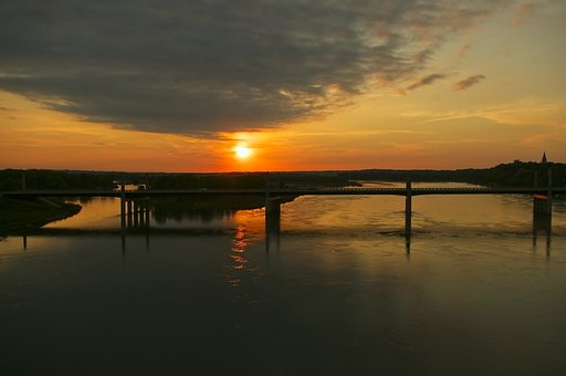 Sunset Over The Missouri River, Sunset, Sundown, Sky