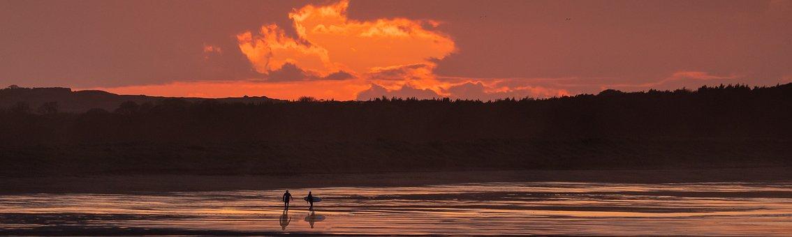 Surfer, Scotland, Sunset, Scottish, Surf, Shoreline