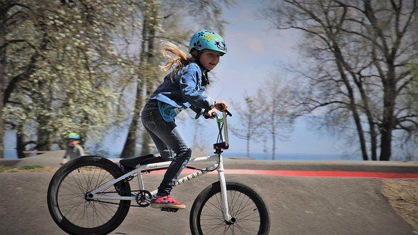 Bmx, Bike, Wheels, A Smile, Blonde, Hair, Wind, Young